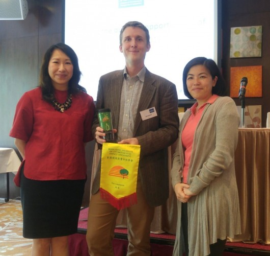 From left to right: Ms Clara U (Chairman of HK Institute of EIA), Josh Fothergill (Policy Lead, IEMA), Dr Jeanne Ng (Chairman HK Institute of Qualified Environmental Professionals and Group Sustainability Director, China Light and Power)